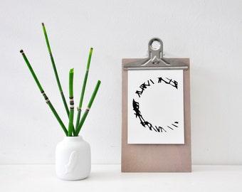Buchstabe C, Postkarte, schwarz weiß, Illustration, Zeichnung, Geschenk, Deko, Dekoration, Grußkarte, Papier, Karte, Typographie