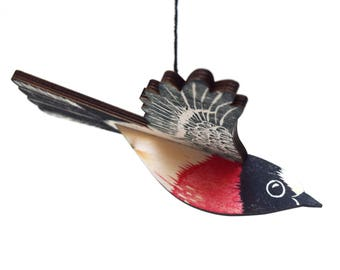 Scarlet Robin Mobile, Hand Printed Wooden Lino Printed Hanging Bird, Australian Native Bird,