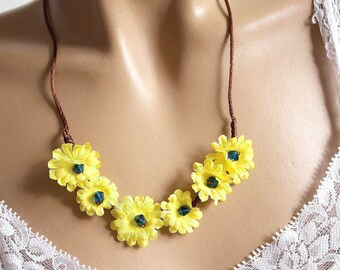 Yellow and Brown floral necklace