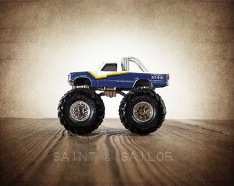 Vintage Monster Truck Blue and White Flyn Hi, Photo Print,  Wall Decor, Playroom decor,  Kids Room, Nursery Ideas, Gift Ideas,