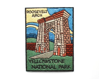 Official Yellowstone National Park Souvenir Patch Roosevelt Arch Wyoming