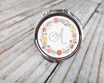Personalized Bridesmaid Gift  Compact Mirror - Spring Floral Wreath