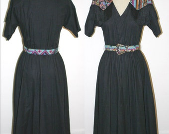 80s Country Western Girl Cowgirl Dress Pinup Costume South West Tribal Print Size Medium M