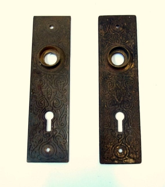 Ornate Cast Metal Door Backplate Set of Two Matching Antique Door Knob Back  Plates Architectural Salvage Home Restoration Escutcheon DD 1157 from ... - Ornate Cast Metal Door Backplate Set Of Two Matching Antique Door