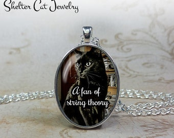 "Black Cat Necklace - ""A Fan of String Theory"" - Original Photo - 1-1/4"" Round Pendant or Key Ring - Handcrafted Wearable Photo Art Jewelry"