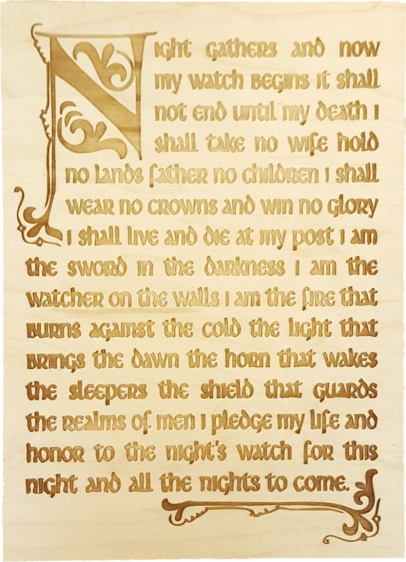 Game of Thrones Inspired Night Watch Oath Wooden Wall Decor Plaque ...