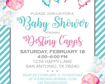 Butterfly Floral Baby Shower Invitation