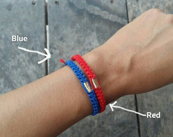 Thai Buddhist Monk Blessed Braided Soft Fibre Takrut Wristband Bracelet Friendship Handmade Red or Blue