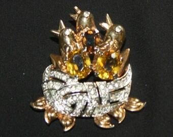 Nesting Birds Rhinestone & Glass Brooch Pin