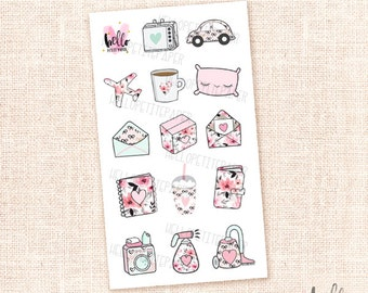 Mini sticker sampler - Girly collection / 14 stickers