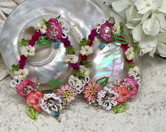 Lilygrace Big Beaded Pink Floral Hoops with Vintage Rhinestones, Freshwater Pearls and Glass Beads