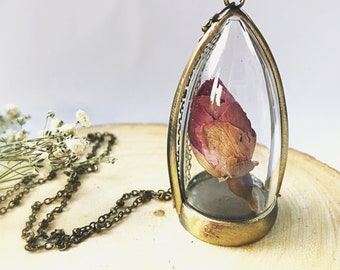 Real Dried Rose Bud Necklace Inside a Glass Terrarium, Beauty and the Beast Inspired, Vintage Inspired, Bridesmaid Gift, Birthday Gift