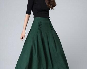 green maxi skirt, summer skirt, linen skirt, pleated skirt, womens skirts, designers clothing, elastic waist skirt, swing skirt 1505