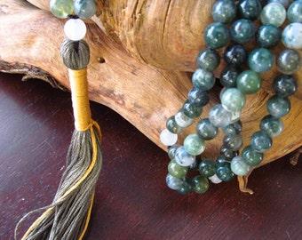 Mala Beads Moss Agate and Quartz, 108 Mala Beads, Mala Necklace, Prayer Beads, Yoga Jewelry,  Beaded Necklace, Tassel Necklace, Japa Mala