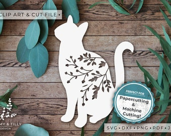 Cat No.4 Silhouette - Clipart & Cut File - Hand Papercutting - Cricut / Silhouette - SVG DXF PNG Pdf Jpg - Kids Children Nursery