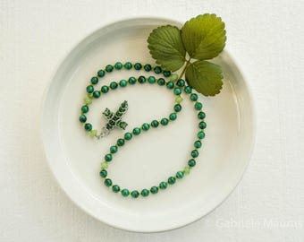 Rosary with Malachite beads // chainmaille cross  malachite greens  light green glass beads