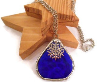 Blue Teardrop Pendant Stained Glass Necklace Hammered Blue Glass Pendant Necklace Handmade Jewelry Blue Glass Jewelry Snowflake Necklace