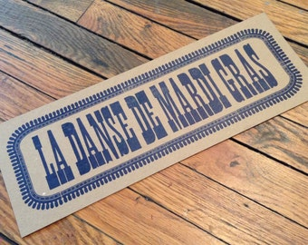 Cajun Mardi Gras sign, Traditional Mardi Gras, Louisiana decor, rustic print, Letterpress poster, New Orleans art,Cajun sign, fiddle tune