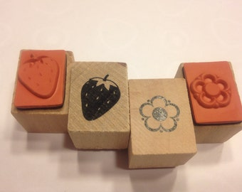 set of flower and strawberry stamp, 13-17 mm (SB1)