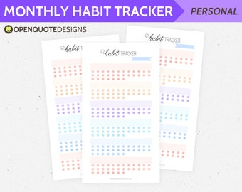 Monthly Habit Tracker Printable, Personal Filofax Personal Inserts, Printable Filofax Inserts, Monthly Planner, Bullet Journal