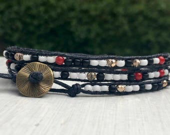 Black White Red Gold Bead Wrap Bracelet - Small Bead Bracelet - Chan Luu Style - Cotton Cord - Skinny - Thin - Stack - Layer - Mother's Day