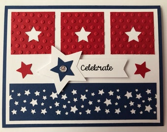 """Handmade """"4th of July"""" Card, A2, Red White Blue, Patriotic, Stars Stripes, Celebrate"""