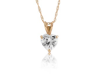 14K Yellow Gold Heart Shape Cubic Zirconia Pendant Necklace With Rope Chain 1TCW