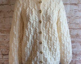 Vintage Hand Knitted Cardigan Sweater Arran Style Pale Cream Wool Geek Chic Preppy Country Large c 1960s