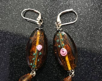 Brown Earring Set with Rose Detail