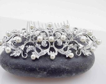 Bridal Swarovski crystal comb, Wedding Pearl and crystal haircomb, Wedding Accessories, crystal and pearl comb, Victorian comb