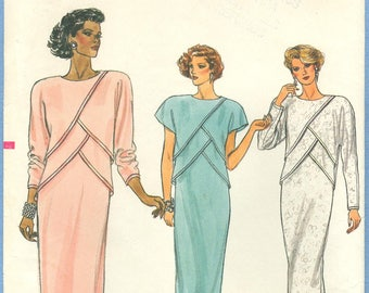 1980s Misses' Straight Dress with Front Overlays Uncut Factory Fold Size 8 - Vogue Sewing Pattern 9212