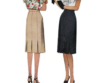 """McCall 5667 Woman's Knee Length Inverted Pleat Classic WWII Era Skirt Vintage Sewing Pattern 1940s Waist 26"""""""