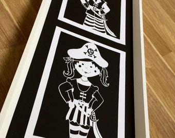 COMMERCIAL Pirate Girl Papercutting Template