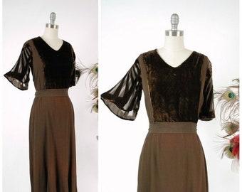 20% OFF - Vintage 1930s Dress - Exquisite Rayon Crepe and Silk Velvet 30s Frock Cut Velvet Devoré Sleeves and Crepe Sash