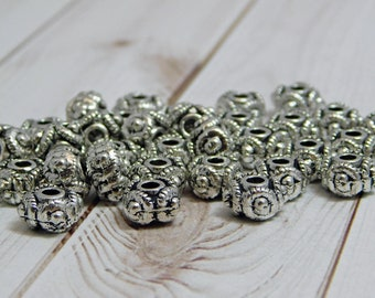 5x8mm - Metal Beads - Metal Spacers - Silver Spacer Beads - Pewter Beads - Rondelle Spacer Beads - Lead Free Beads - 20pcs - (B700)