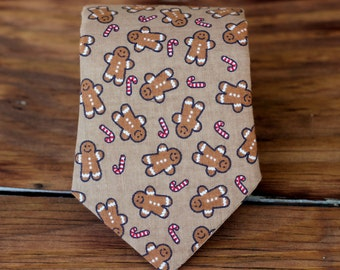 Boys Christmas Necktie - Holiday Gingerbread Men and Candy Canes on Brown Cotton Tie - Pre-tied, Adjustable - Baby Infant Toddler Child Boy