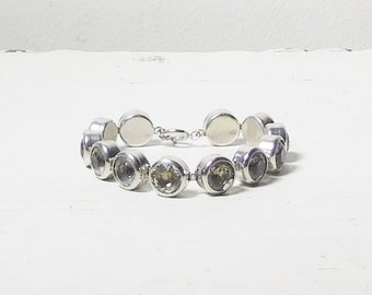 Large Round Panel Rhinestone Bracelet 7 Inches Long Silver Tone Raised Domed Chunky Vintage Costume Jewelry