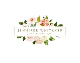 Premade Photography and Watermark Logo Design, Gold Glitter Logo, Floral Frame Logo, Blog Header Design 397