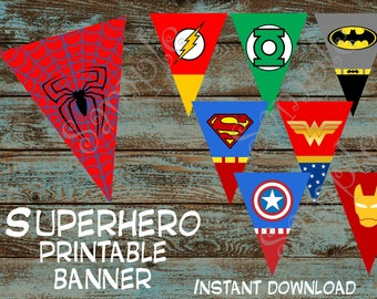 Superhero Party Banner, Superhero Printable Party Banner, Superhero Birthday Banner, Superhero INSTANT DOWNLOAD Banner, Superhero Banner