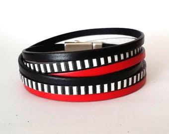 Wrap bracelet, leather bracelet , multi strand cuff, boho bracelet, bracelet  for men, black and white bracelet, boho jewelry, gift for him,