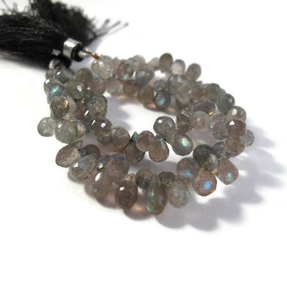 Natural Labradorite Beads, Tiny Gemstone Briolettes, 8 Inch Strand, Natural Labradorite 6.5mm x 4mm - 7mm x 5mm (B-Lab3a)
