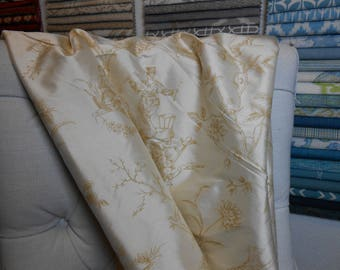 Cream Toile Remnant Silk Fabric, 5 Yard Piece, Bedding, Sewing, Home Decor