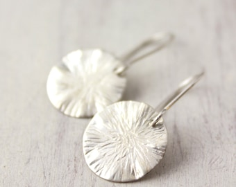 Wavy Hammered Disc Silver Earrings
