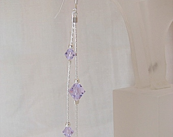Sterling .925 Silver Earrings with Aquamarine Swarovski Beads