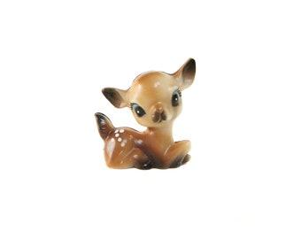 Miniature Deer Figurine Vintage, Vintage Christmas Deer, Plastic Fawn
