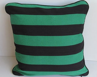 green and black striped cotton pillow made from hand woven fabric