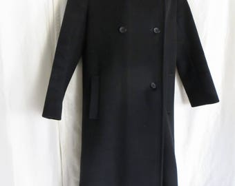 Vintage 70s womens ladies long black Forstmann wool coat, warm winter, high collar, union label, made in USA, size M