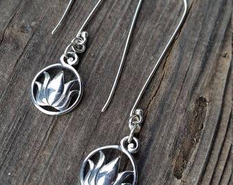 Sterling silver long drop earrings, long french hook earrings, drop earrings with lotus charm