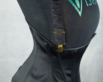 Silk Covered Corset Braces - Black and Gold