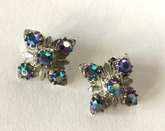 Vintage Aurora Borealis Clip On Earrings